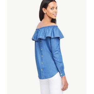 Ann Taylor chambray Off the Shoulder Top W Frill